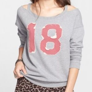 Free People distressed 18 French terry top